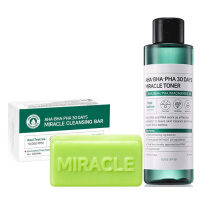 SOMEBYMI SET : AHA/BHA/PHA 30 days Miracle Tea Tree Toner [150ml] +  Miracle Cleansing Bar Soap 106g READY STOCK!