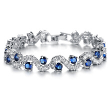 Jantens Ladies Silver Color Cubic Zirconia Royal Blue Stone Bracelets Jewelry For