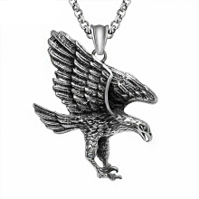 SESIBI Fashion Punk Style Fly Eagle Pendants Necklaces Titanium Stainless Chain For Mens Jewelry