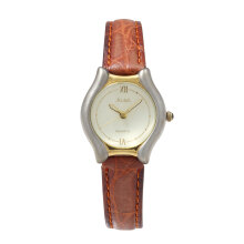 ALBA Jam Tangan Wanita - Brown Gold Silver - Leather Strap - ATCX12