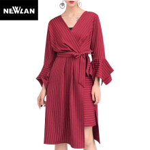 Newlan Striped shirt dress women summer autumn V-neck asymmetric dress with belt