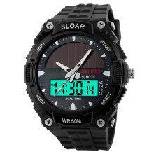 Farfi Men Sports Solar Power Dual Time Water Resistant Electronic Watch