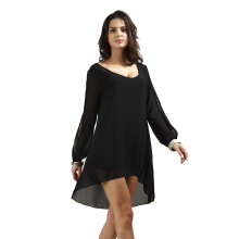 CAUSEY Fashion v-neck chiffon loose dress solid color women's clothing