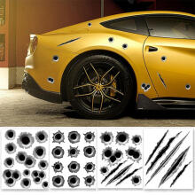 Farfi Cool Funny Bullet Hole Pattern Car Motorcycle Helmet Bike DIY Sticker Decal as the pictures