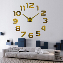 JDWonderfulHouse JDwonderfulhouse 3D Frameless Wall Clock Modern Mute Large Mirror Surface DIY Room Home Office Decorations