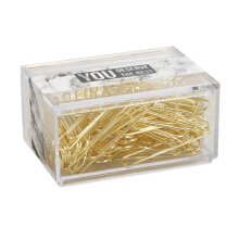 xzante NEVER 70pcs 2 inch Gold Paper Clips Iron Wire U Type Paper Clip in Reusable Marble White Paper Clip Holder for Office & School Supplies Material Escolar Stationery