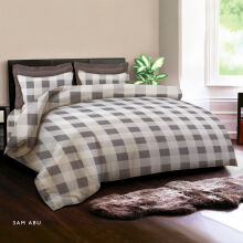 KING RABBIT Bedcover & Set Sprei Sarung Bantal Single Motif Sam - Abu / 100x200x40cm Grey