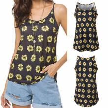 Women Summer Print Sleeveless Shirt Blouse Casual Tank Tops T-Shirt