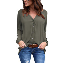 Loose Style Solid Color Ladies Tops Fashionable Women Long Sleeve Blouse army green L