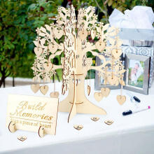 Farfi Wedding 3D Guest Book Tree Visit Sign Wooden Hearts Pendant Party Decoration as the pictures