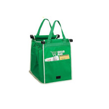 [COZIME] 1PCS Foldable Nonwoven Fabric Shopping Bag Eco Grocery Cart Trolley Handle Bag Green