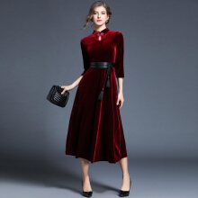 Allgood Fashion Female OverKnee women dress Cashmere Gold Velvet Cheongsam Bottoming Dresses