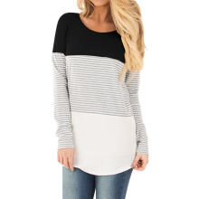 Farfi Maternity Breastfeeding?T-Shirt Stripe Color Block Long Sleeve Nursing Tunic Top