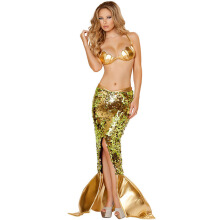 Anamode Women Goddess Mermaid Costume Sea Siren Sequin Cosplay Dress -One Size -Gold
