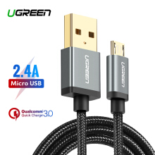 UGREEN Nylon Braided 200CM Micro USB Cable for Xiaomi Redmi 5A, VIVO, OPPO, handphone hp 5V2A Fast Charger USB Data Cable-Black