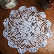JDwonderfulhouse White Cotton Yarn Round Hand Crocheted Lace Doily Placemat Flower Coasters 37cm White