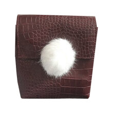 [LESHP]Trendy Design Soft PU Leather Women Messenger Bag Fur Ball Single Shoulder Dark Grey