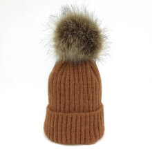 Autumn Winter Knitted Imitation Raccoon Hair Ball Earflap Warm Bebe Bonnet