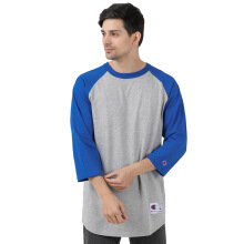 CHAMPION Raglan Sleeve Baseball T-Shirt - Oxford Gray / Team Blue