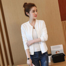 Women short coat ladies bomber jackets Solid full lined loose overcoat white M