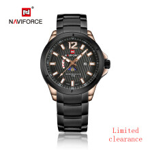 NAVIFORCE  Men Sports Watches Business Quartz Watch Stainless Steel Band Waterproof Luxury Band Wristwatches Gold Black