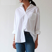 Jantens Casual loose women shirt autumn new fashion collar large size shirt long sleeve button white