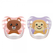 Dr. Brown's Stage 2 Printed Shield Pacifier 2 Pack - Girl Animal