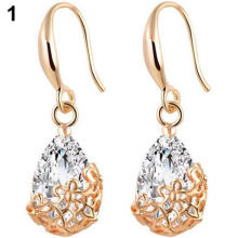 Farfi Women's Zircon Waterdrop Hollow Flower Eardrop Hook Dangle Earrings Jewelry