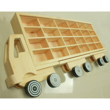Hot Wheels Tomica Matchbox Truk Diecast Rak Display - Natural Kayu - Isi 24
