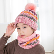 SiYing cute hair ball knit neck cap thick warm children's hat