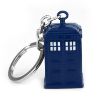 Jantens Blue Police Box Keychain Copper Alloy Metal Key Rings For Gift Keychain Jewelry Blue