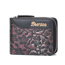 Zanzea Brenice Embossed Flowers 16 RFID Card Holder Vintage Portable Cowhide Coin Purse Gold