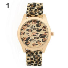 Farfi Women Silicone Leopard Print Quartz Analog Geneva Wrist Watch Gifts