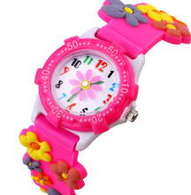 Keymao Flower Waterproof 3D Cute Cartoon Silicone Wristwatches Gift for Little Girls Boy Kids Children Pink