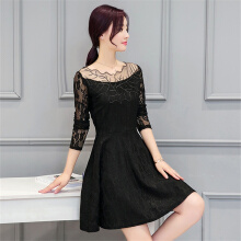 Allgood Fashion Wanita Lace Lengan Cabang A-Line Perspektif Tunik Solid Mini Dress Womens Dress Pakaian Kasual