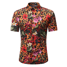 SiYing Men's Shirt Casual Pointed Collar Breathable Short Sleeve Flower Shirt