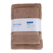 JOYHOME  Woven Piece Dyed Terry Towel With Dobby Border BUY 2 GET 1 ( 2 Bath + Free 1 Travel Towel) - BROWN