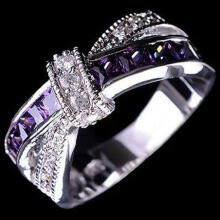Farfi Women's Fashion 925 Sterling Silver Purple Ring Zircon Wedding Bague Jewelry