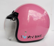 Ava Fashion Helm Retro Visor Bogo - I Love My Bike Pink Pink L