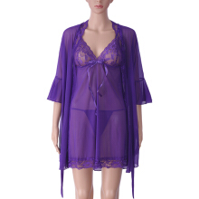 Zanzea 0051Three-piece Women Sexy Transparent Mesh Slip Dress Pure Color Robe Sleepwear Sets Purple M