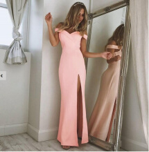 Ninataly Off Shoulder Women Long Dresses Vintage  Maxi Dress High Split Slim Robe Longue Femme Tube Dress Pink M