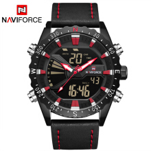 NAVIFORCE 9136 Mens Watches Leather Outdoor Sports Watches Men's Quartz LED Digital Clock Waterproof Military Wrist Watch Red
