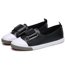 Leather Hook & Loop Comfy Leisure Flat Shoes Black  38