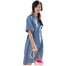 INMAN 1882102271 Dress Women Linen And Cotton Material Bat Sleeve Jeans Light Blue Women Dress
