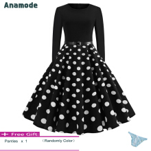 Anamode Women Elegant Bodycon Dresses Big Swing Dot Printed Party Gown Pinup Midi Robe -Black -