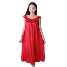 Farfi Fashion Faux Silk Ruffle Night Dress Nightgown Women Loose Mid-Calf Sleepwear