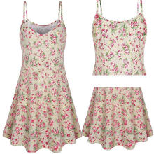 Maodapa Women's Sleeveless Printing Summer Floral Flared Swing Dress