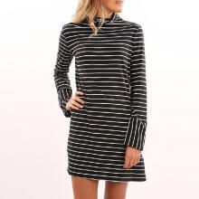 Maodapa Women Casual Stripe O Collar Dress Long Sleeve Mini Dress Party Dress