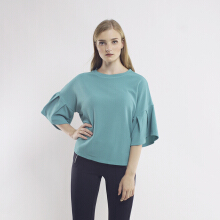 KORZ Textured T-Shirt With Pleat Sleeve