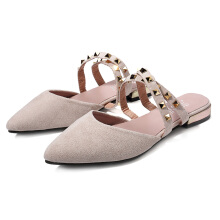 Suede Pointed Toe Rivet Flats Beige 40